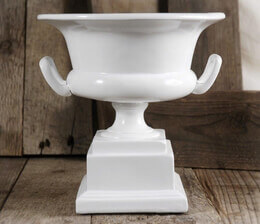 White Urn Pedestal Bowl with Handles 7in x 7in