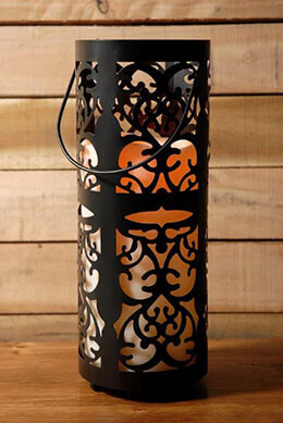 Battery Operated Candle Lantern Black 12in
