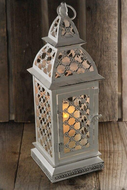 "White Metal Candle Lantern, Flickering Candle, 17"" Battery Op. Remote Control"