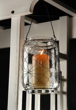 Black Wire & Glass Hanging Candle Holder