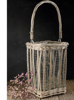"10"" Hanging Wicker & Chicken Wire Basket with Glass Insert"