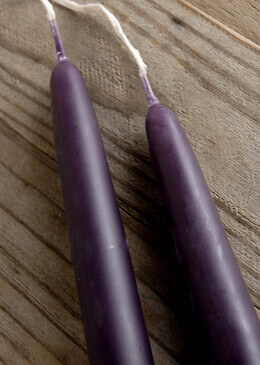 Beeswax Taper Candles Purple 12in (Set of 2)