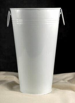 "11"" White Flower Market Buckets with handles"