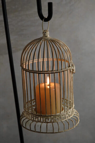 Antique White Metal Bird Cage Candleholder 12in