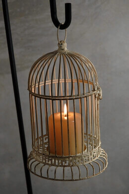 Antique White Metal Bird Cage Candleholder