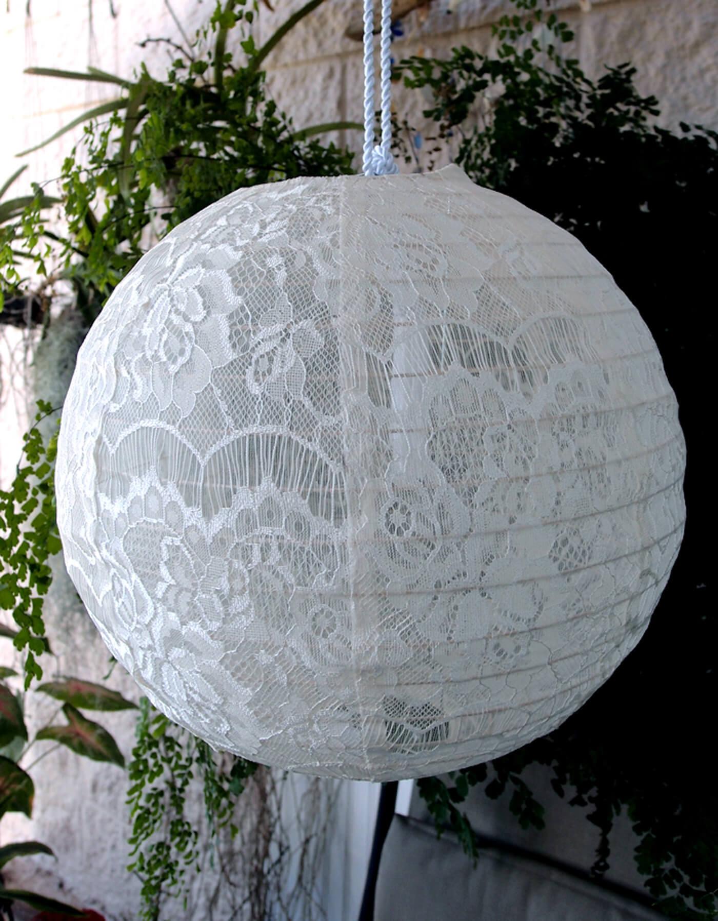 "White Lace Fabric Hanging Lanterns 12"""