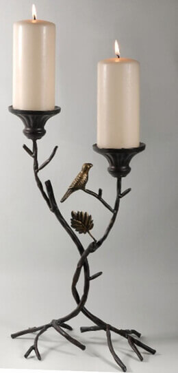 "Metal Candle Holder 17""  branches & bird silhouette"