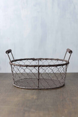 Rustic Oval Wire Basket Large