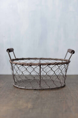 Rustic Oval Wire Basket Small