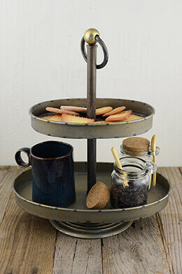 2-Tier Metal Tray Gray