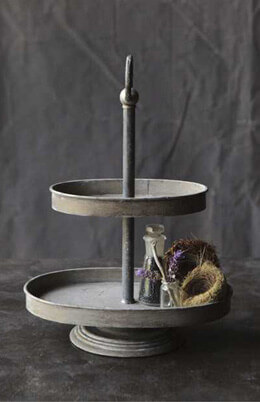 2-Tier Zinc Pedestal Tray  15x12