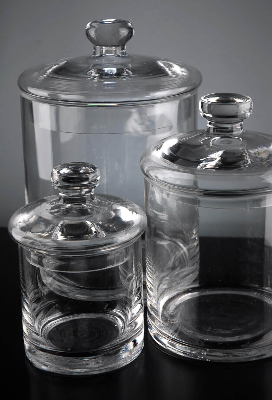 Set of 3 clear glass apothecary canister jars for Bathroom containers with lids