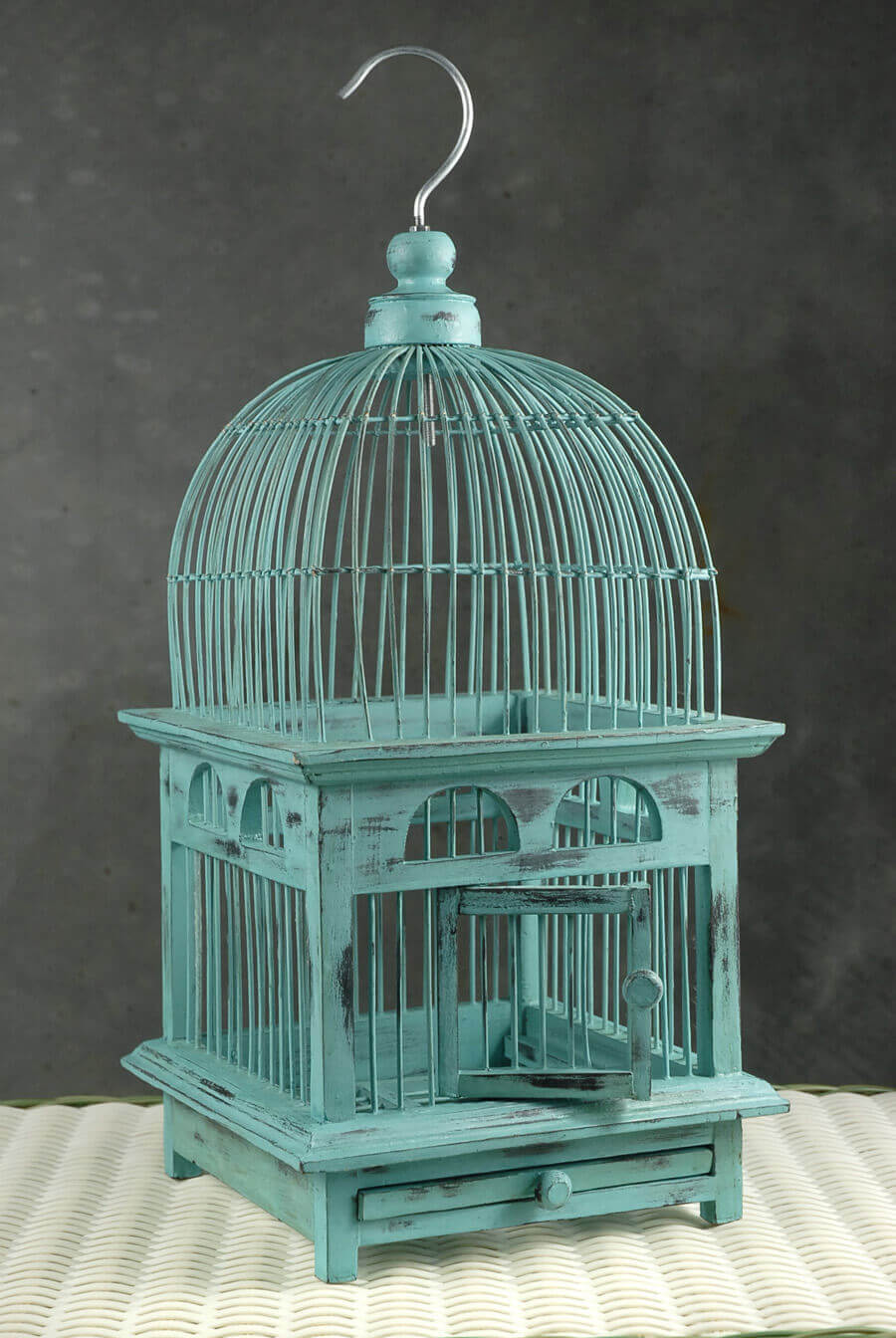 "Handcrafted Teak Bird Cages Mint (16-1/2"")"