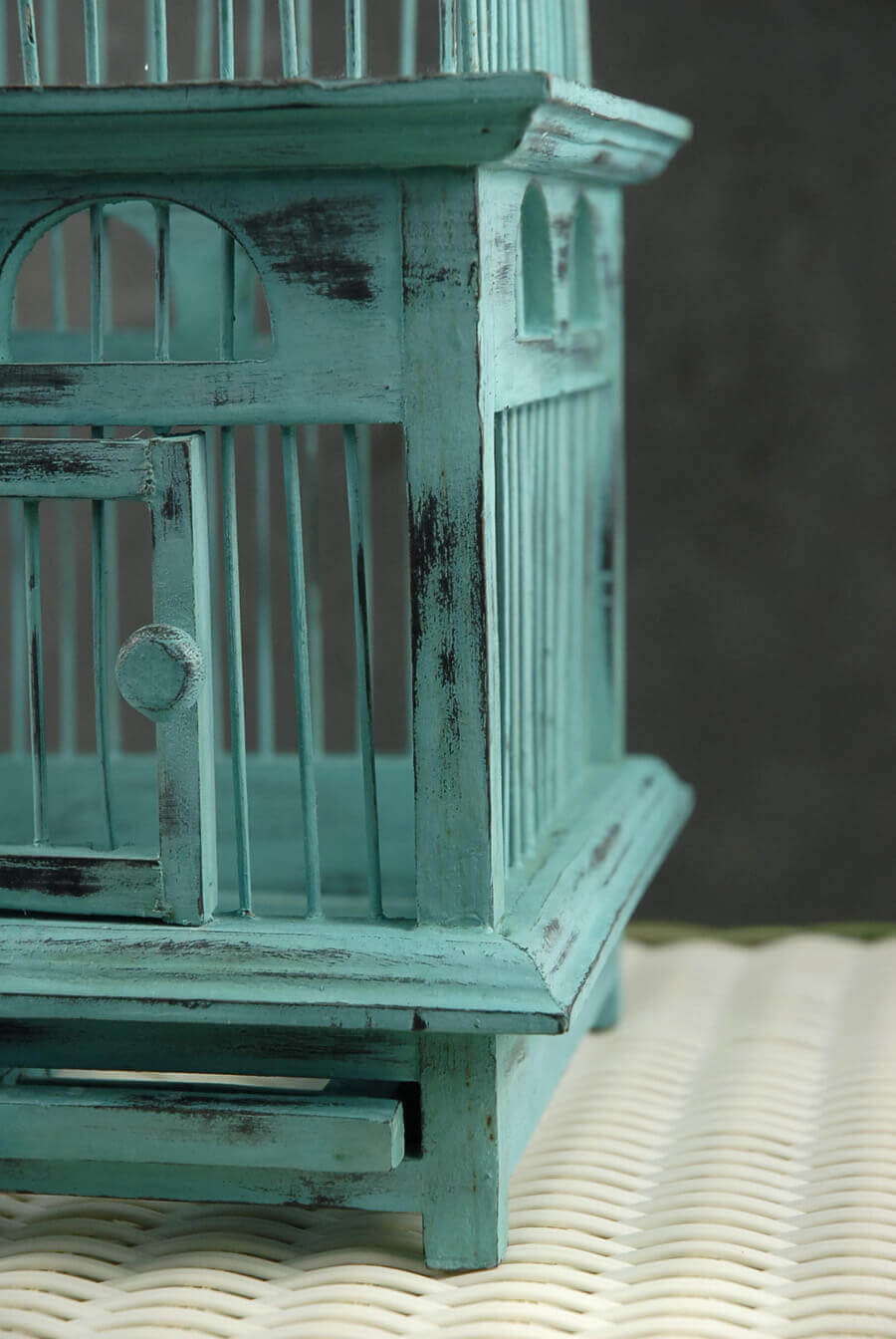 Tiffany Blue Handcrafted Teak Bird Cages (16-1/2