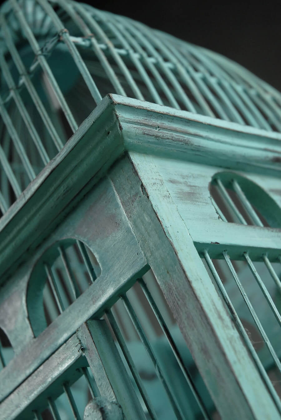 "Tiffany Blue Handcrafted Teak Bird Cages (16-1/2"")"