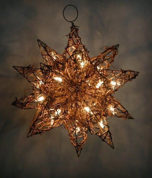 String Lights Stars : Grapevine Moravian Star with String Lights 10in