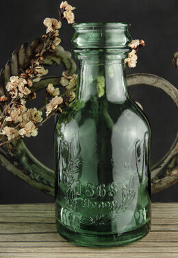 Green Glass Honey Bottle 6 in.