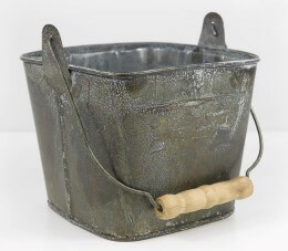 Metal Bucket with Wood Handle