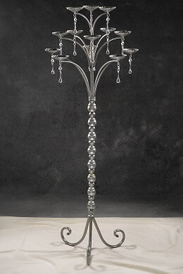 Silver Glitter Candelabra with Dangling Crystals