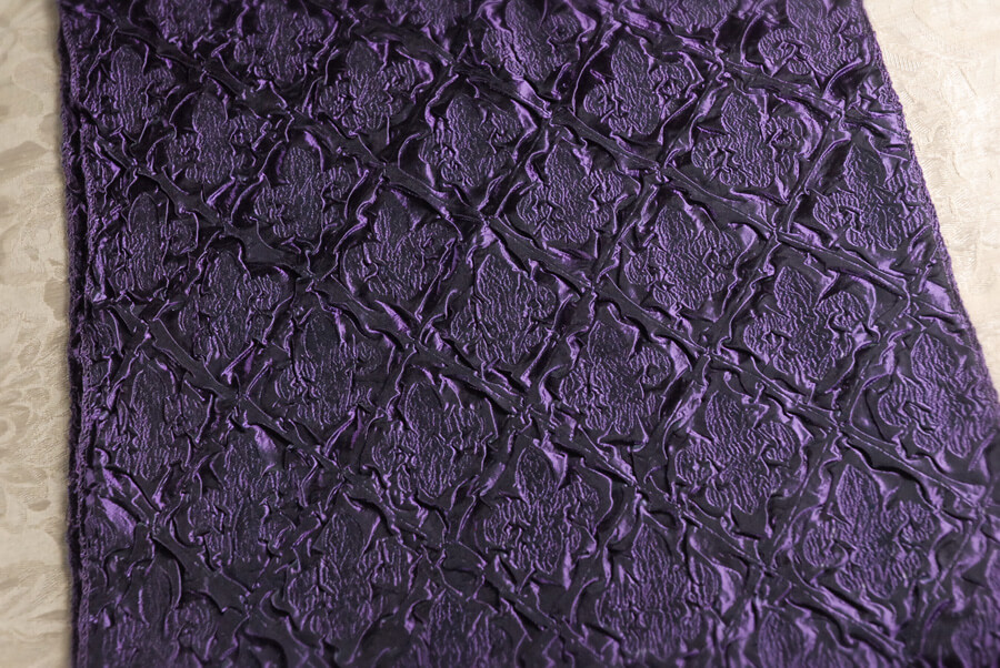 Purple Brocade Fleur de Lis Crepe Fabric Satin Runner 72in