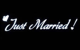 Flat Panel El Wire LED Just Married Sign - For Car Window, Battery Operated