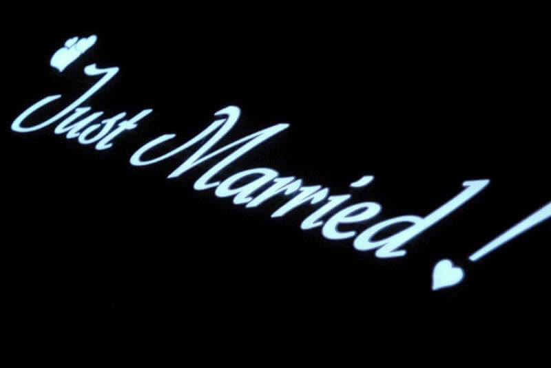 "El Wire ""Just Married"" Sign Battery Op, Flat Panel El Wire"