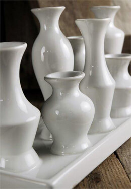 White Bud Vase Set of 7 Vases with tray