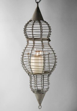 Large Metal Basket Weave Hanging Lantern