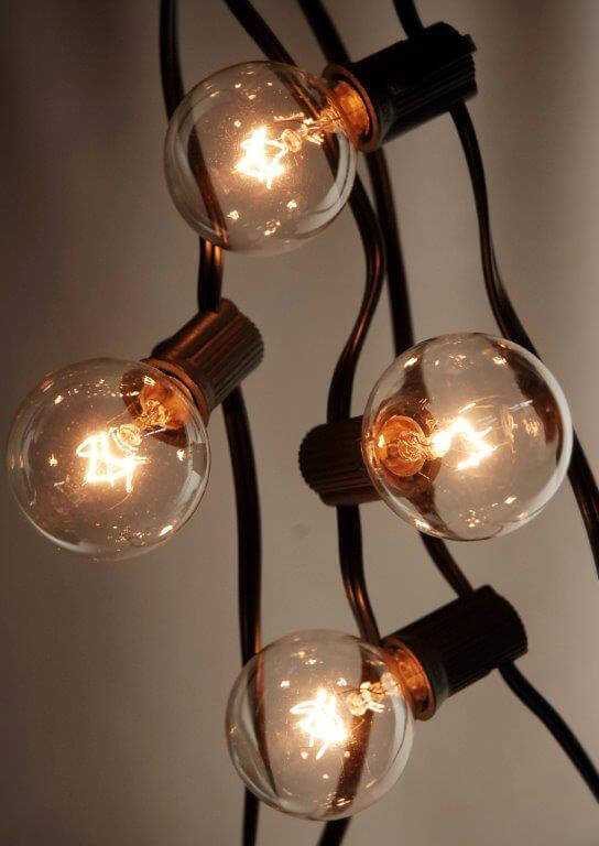 Globe String Lights Indoors : Globe String Lights Black Wire 25 Ft 25 Socket