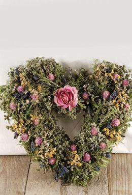 "Herbal Rose Heart Wreath 15"""
