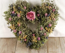Dried Flower Heart Wreath 14in