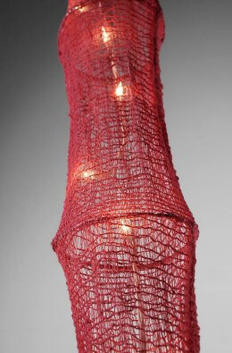Fish Netting Lantern with Lights 5 Feet RED