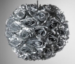 "12"" SILVER ROSE Covered Hanging Lantern"