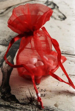 Red Organza Sheer Favor Bags 36pc