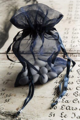 Navy Blue Organza Sheer Favor Bags 36pc