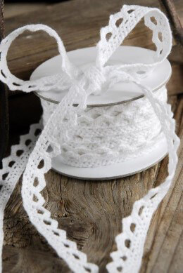 "White Cotton Lace Ribbon 1/2"" x 10 yards"