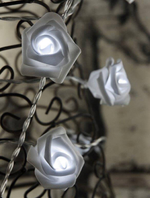Led Rose String Lights : LED Rose String Lights Cool White