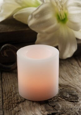 Wax Flickering LED Battery Votive Candle White 2in