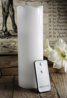Wax Flickering LED White Pillar Candle with Remote 9in