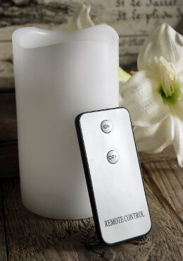LED Wax Pillar Candle with Remote White 5in