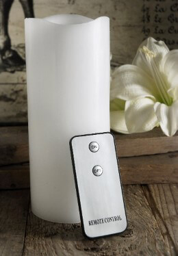 Wax Flickering LED White Pillar Candle with Remote 7in