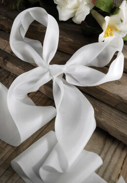 Silk Ribbon White 2.5in x 10yds