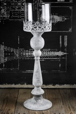Pedestal Candle Holder with Glass Shade