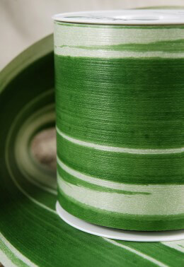 "Aspidistra Decor Green Leaf Ribbon Mangetsu Waterproof Ribbon 4"" Wide X 28 Yards"