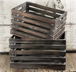 White Wash Wood Crates Set of Two