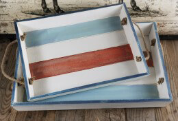 Serving Trays Distressed Wood | Set of 2