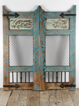 Distressed Wood Wall D�cor Accent Panel Turquoise 28x32in