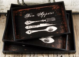 Bon Appetit Three Piece Serving Tray Set