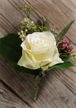 Cream Rose Boutonniere 5in