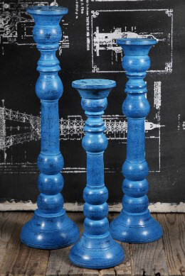Wood Pillar Candle Holders Blue (Set of 3)